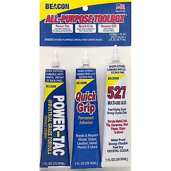 Beacon All Purpose Glue Toolbox W/Glue 1oz 3/Pkg- AP1OZTBC