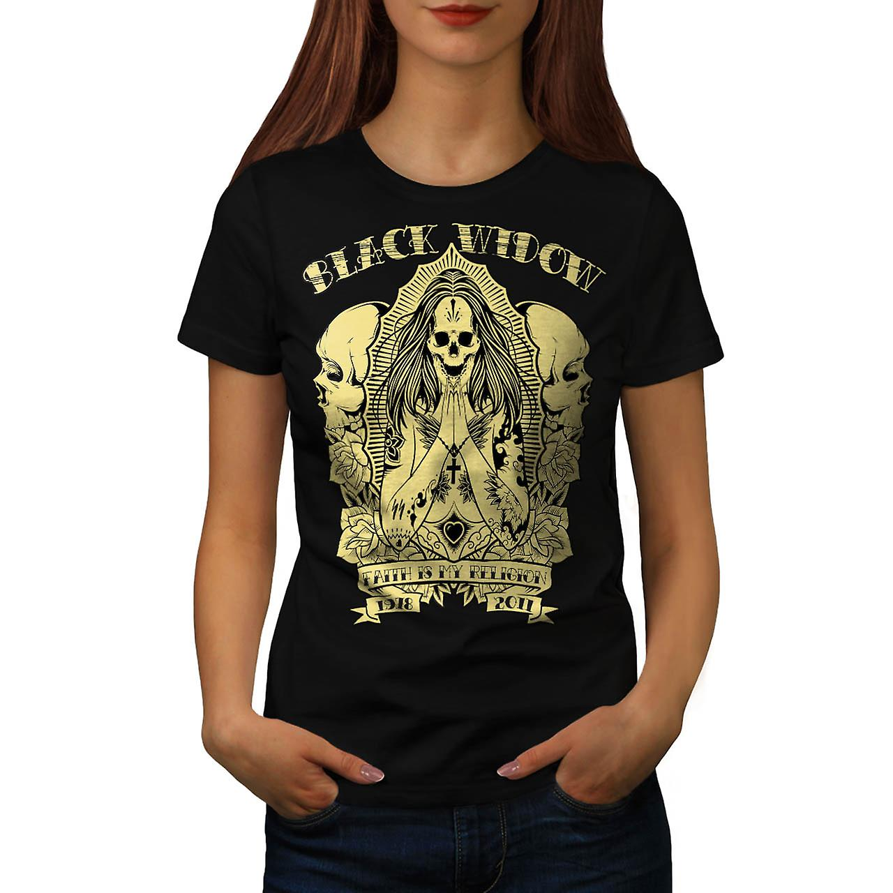 Black Widow Skull Vintage Women Black T-shirt | Wellcoda