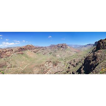 View from Mirador de Fataga on the canyon Barranco de Fataga Gran Canaria Spain Poster Print