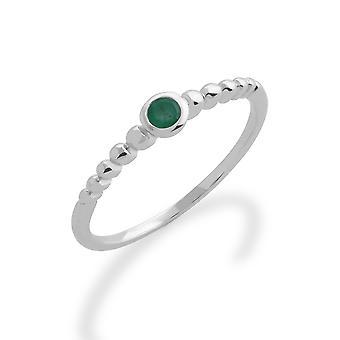 Gemondo 925 anello in argento Sterling 0,11 ct Emerald Birthstone impilabile