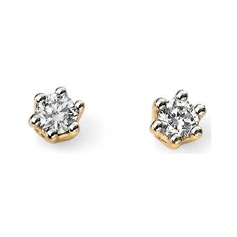 9Ct White Gold And Gold With Diamond Earring
