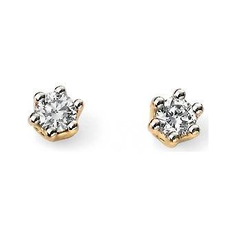 9 CT hvitt gull og gull med Diamond øreringer