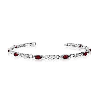 14K White Gold Oval Garnet and Diamond Bracelet