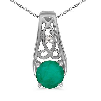 10k White Gold Round Emerald And Diamond Pendant with 16