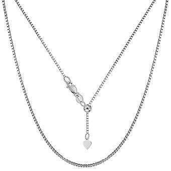 Sterling Silver Rhodium Plated Adjustable Box Chain Necklace, 1,2mm, 22