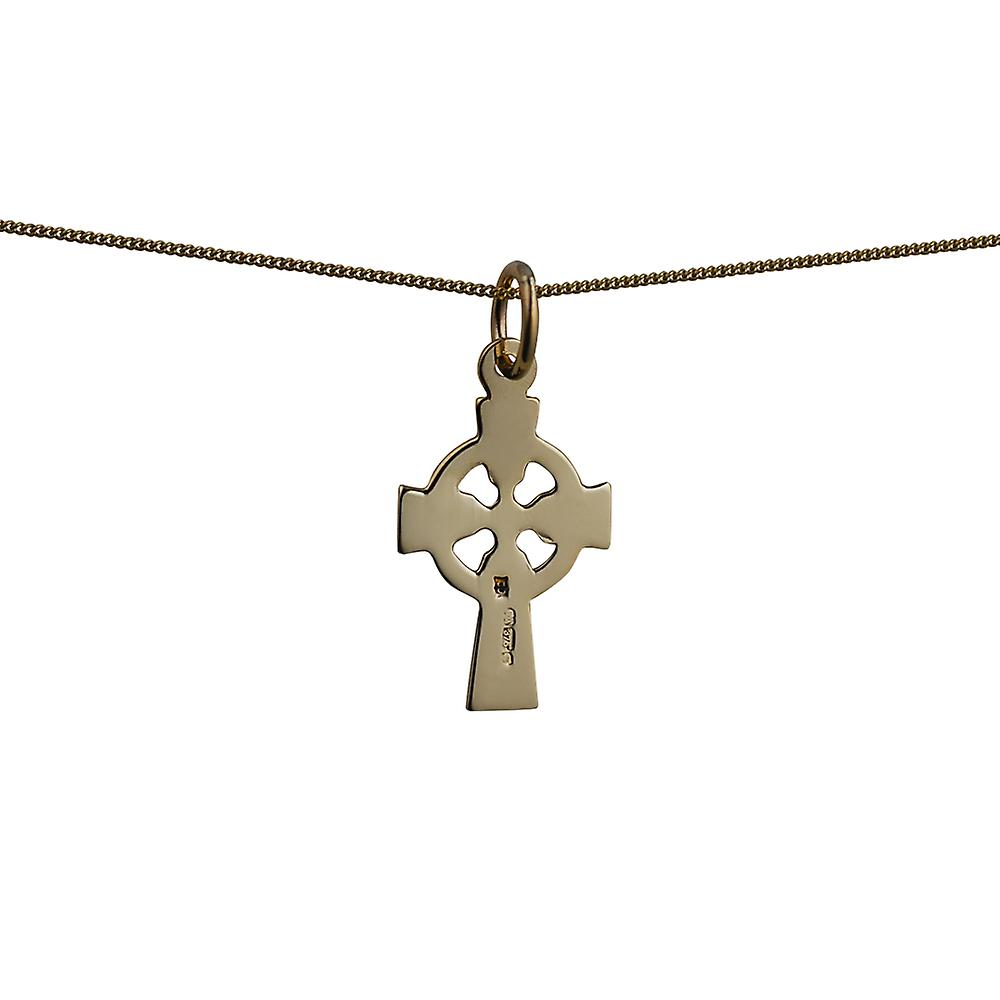 9ct Gold 16x11mm hand engraved Celtic Cross with a curb Chain 16 inches Only Suitable for Children