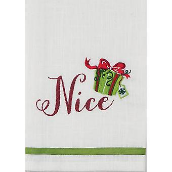 Nice Embroidered Present Glitter 28 Inch Christmas Holiday Tea Towel Kay Dee