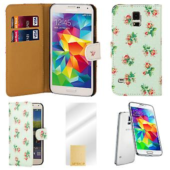 Blomst bog PU læder case cover til Samsung Galaxy S5 (SM-G900) - Mint Green