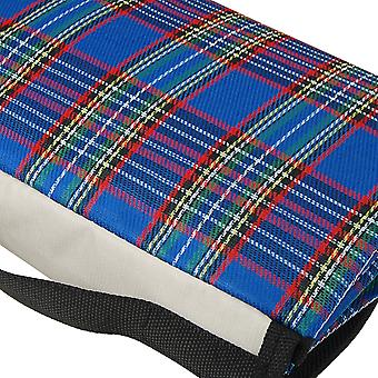 TRIXES Blue Tartan Extra-Large Waterproof Picnic Camping Beach Blanket Rug XL