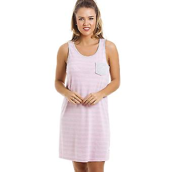 Camille Grey And Pink Striped Nightdress