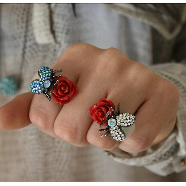 W.A.T Freshwater Pearl, Rose And Firebug Ring