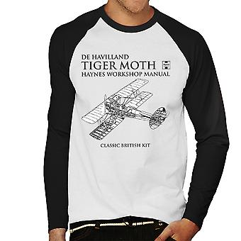 Haynes Owners Workshop Manual de Havilland Tiger Moth Men's Baseball Long Sleeved T-Shirt