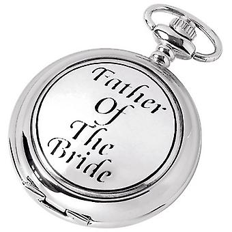 Woodford Father of the Bride Chrome Plated Double Full Hunter Skeleton Pocket Watch - Silver