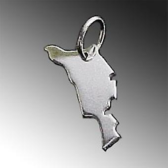 Trailer map HELGOLAND in solid 925 Silver Pendant