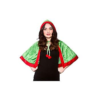 Wicked Adults Christmas Santa's Little Helper Elf Velvet Hooded Cape Fancy Dress