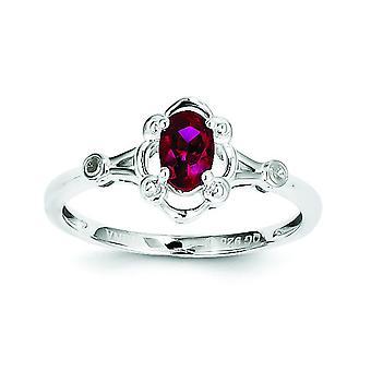 Sterling Silver polerat öppna tillbaka rodium-plated skapad Ruby och Diamond Ring - Ring storlek: 5 till 10