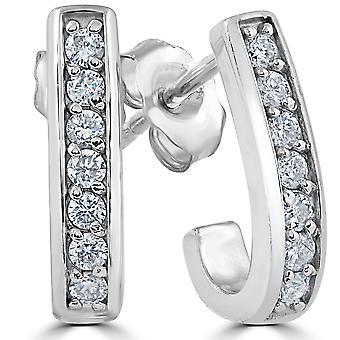 G/SI 1 / 3ct diamante aros 14K oro blanco 1/2