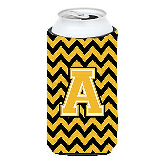 Letter A Chevron Black and Gold Tall Boy Beverage Insulator Hugger