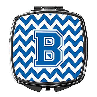 Каролинских сокровища CJ1056-BSCM буква B Шеврон синий и Белый Компактный зеркало
