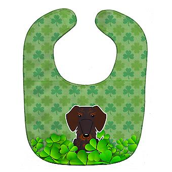 Wire Haired Dachshund Chocolate Shamrocks Baby Bib