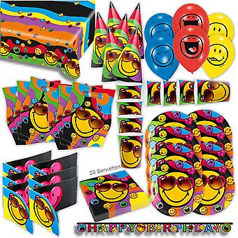 Smog express of do-it-yourself party Kit XL 68-teilig for 6 guests Emoji smilie decoration Kit