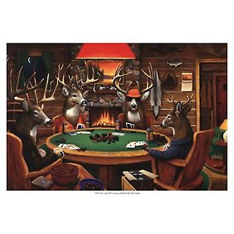 Deer Camp Poster Print by Leo Stans (19 x 13)