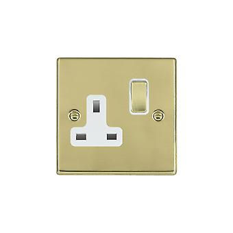 Hamilton Litestat Hartland Polished Brass 1g 13A DP Switched Socket PB/WH