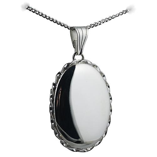 Silver 29x22mm plain twisted wire edge oval Locket with Curb chain