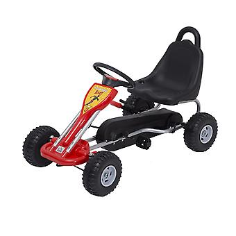 HOMCOM Kids Ride Pedal Go-kart Gokart Go Kart Pedal Outdoor Toy Racing Fun Kart Adjustable Seats with Hand Brake Red
