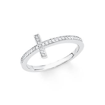 s.Oliver jewel ladies ring silver cubic zirconia SO PURE cross 201724