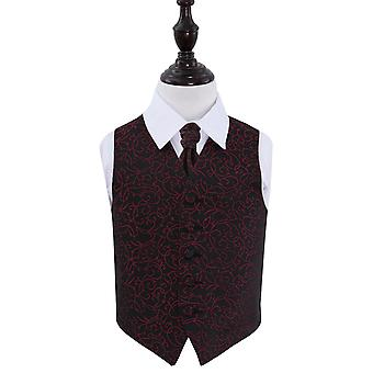 Black & Burgundy Swirl Wedding Waistcoat & Cravat Set for Boys