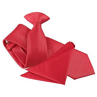 Red Solid Check Clip On Slim Tie & Pocket Square Set