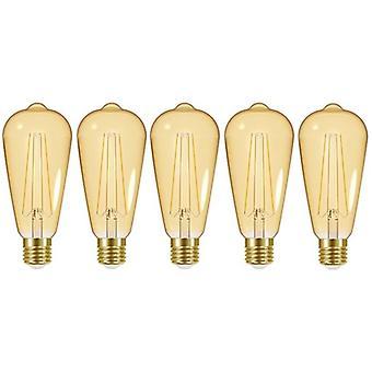 5 X Energizer LED ST64 Energy Saving Lightbulb ES/E27 470lm Warm White[Energy Class A+]