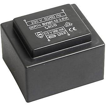 PCB mount transformer 1 x 230 V 1 x 6 V AC 3.60 VA 600 mA PTG380601 Gerth