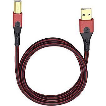 USB 2.0-kabel [1 x USB 2.0-kontakt A - 1 x USB 2.0 anslutning B] 5 m röd/svart guldpläterade kontakter Oehlbach USB Evolution B