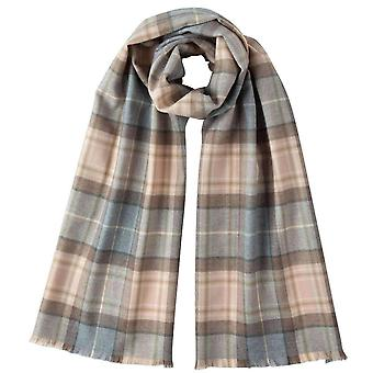 Johnstons of Elgin Natural Mackellar Extra Fine Tartan Scarf - Beige/Grey