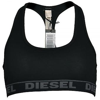 DIESEL Women Miley Cotton Bralette, Black With Grey, Large
