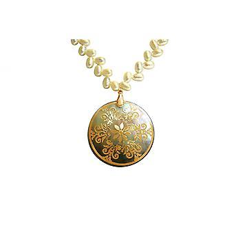 Gemshine - kvinnors - guldpläterad - hänge - medaljong - pärlor - halsband - vit - grå - 5 cm