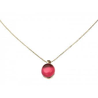 -Pendentif - collier 925 plaqué argent - quartz - Rouge - Fuchsia - 40 cm