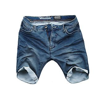 Urban surface men's sweat denim pants of shorts dark blue