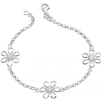 Beginnings Cubic Zirconia Centre Flower Bracelet - Silver/Clear