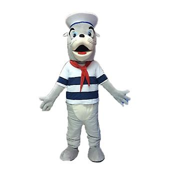 SPOTSOUND of gray and white sea lion mascot, dressed in sailor