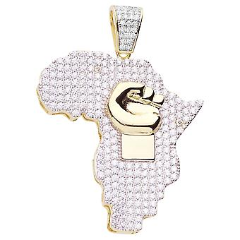 Premium Bling 925 sterling silver Africa power pendant gold