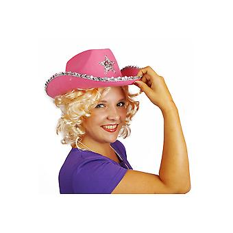Hair accessories  Pink cowboy hat with Silver Star and glitter