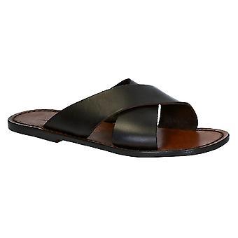 Mens pantofole in pelle fatti a mano in Italia in pelle marrone scuro