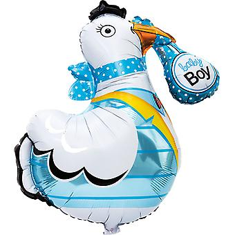 Folieballong Stork 'Baby Boy' 78 cm