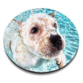 i-Tronixs - Underwater Dog Printed Design Non-Slip Round Mouse Mat for Office / Home / Gaming - 0