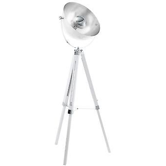Eglo Covaleda Tripod Floor Lamp In White And Chrome