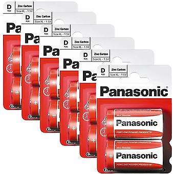 12 x Panasonic R20R-2BP D Size Batteries