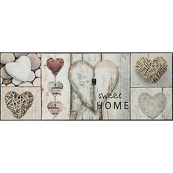 tvätt + torka vintage hjärtan 75 x 190 cm matta tvättbara smuts matta